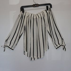 Express Off The Shoulder Striped Blouse Size XS